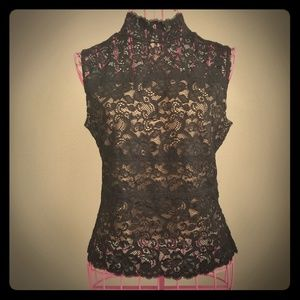 Sheer Lace Sleeveless Top with Keyhole Back